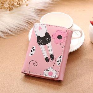 Handbags - Vegan Leather Pink Cat Wallet